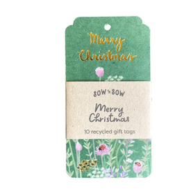 Sow 'N Sow Recycled Gift Tags 10 Pack Merry Christmas
