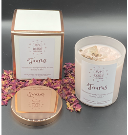 Ivy Rose Zodiac Crystal Infused Candle - White with Rose Gold