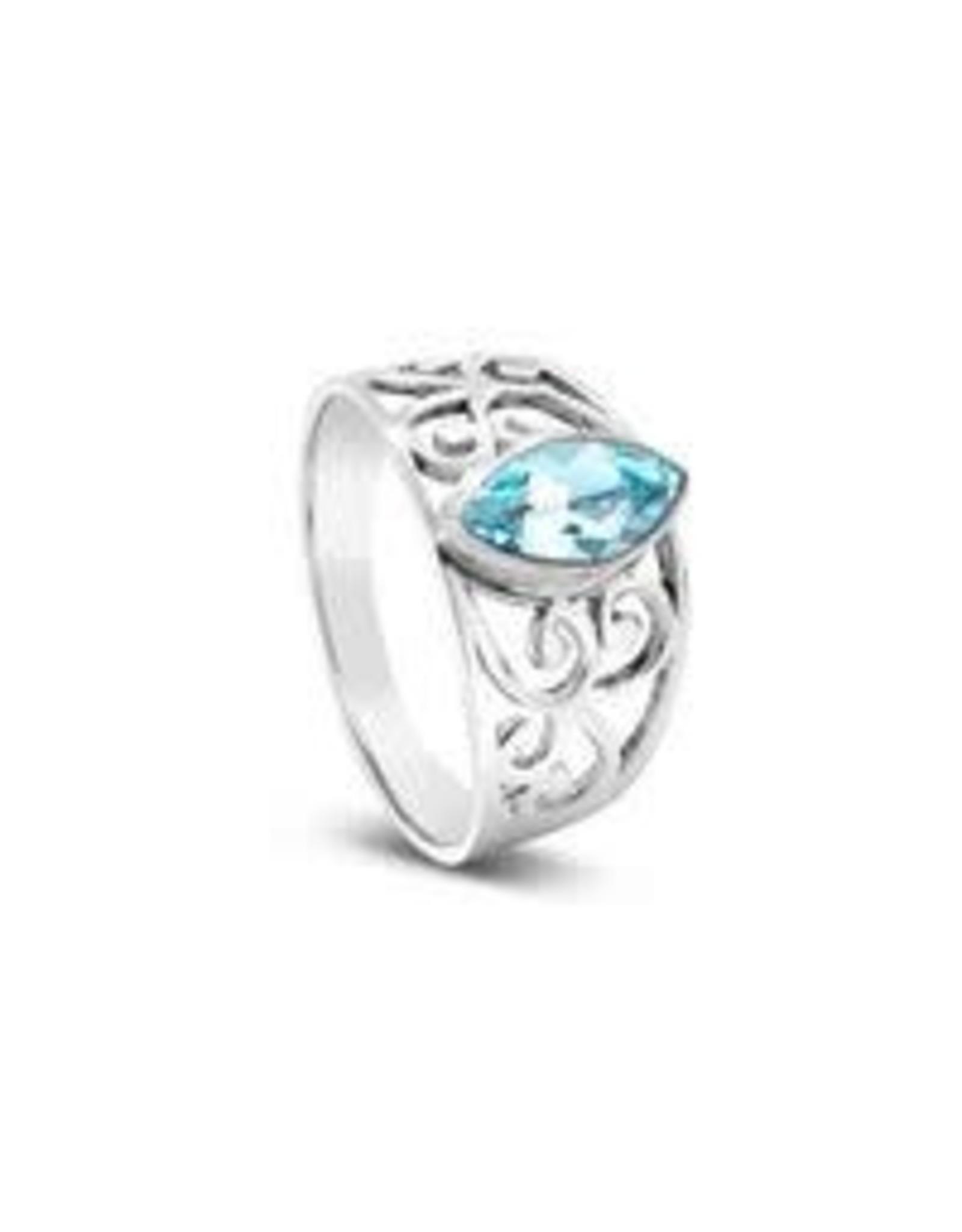 Stones & Silver Blue Topaz Ring 9mm x 7mm