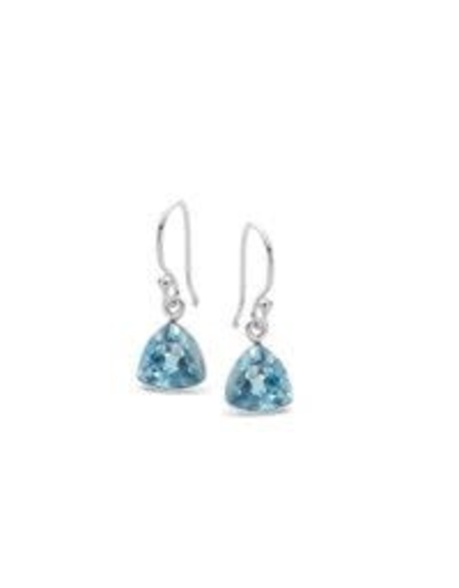 Stones & Silver Blue Topaz Stone Earrings 3cm Drop