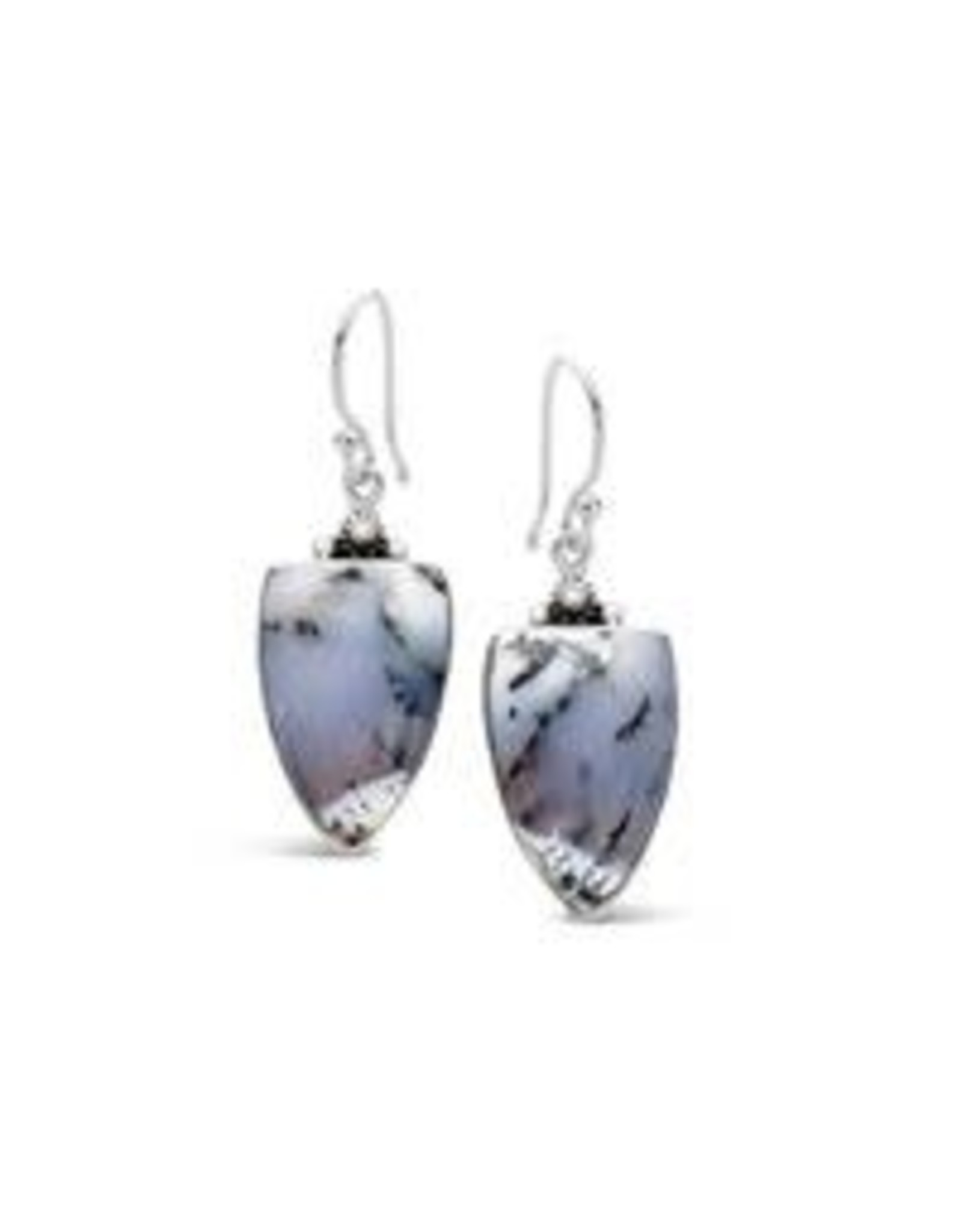 Stones & Silver Dendritic Agate Earrings (925 SS) 25x15mm