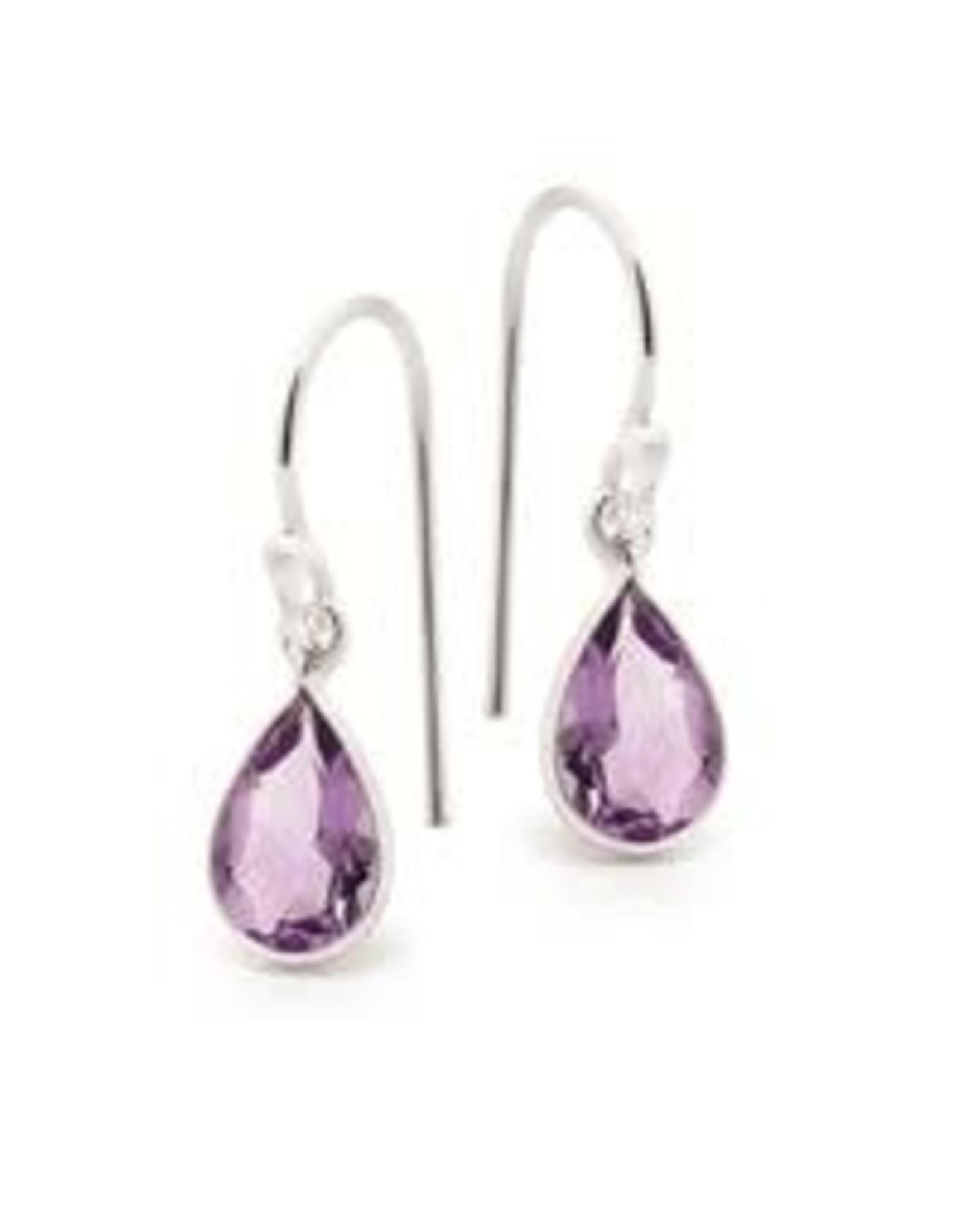 Stones & Silver Amethyst Stone Earrings 7x9mm 2.5cm Drop