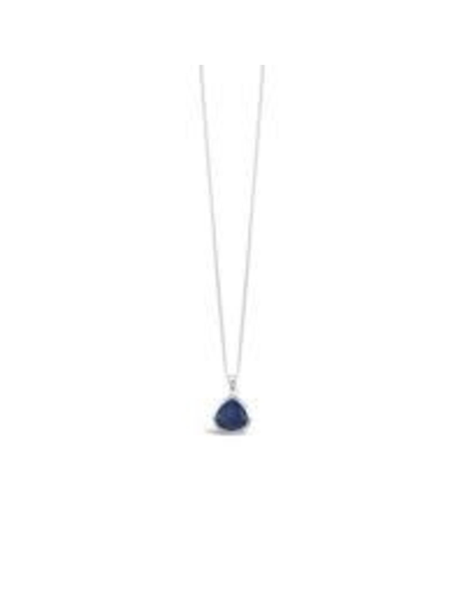 Stones & Silver Lapis Lazuli Teardrop Necklace 1cmx1.2cm with 40cm+5cm Ext (925 SS)