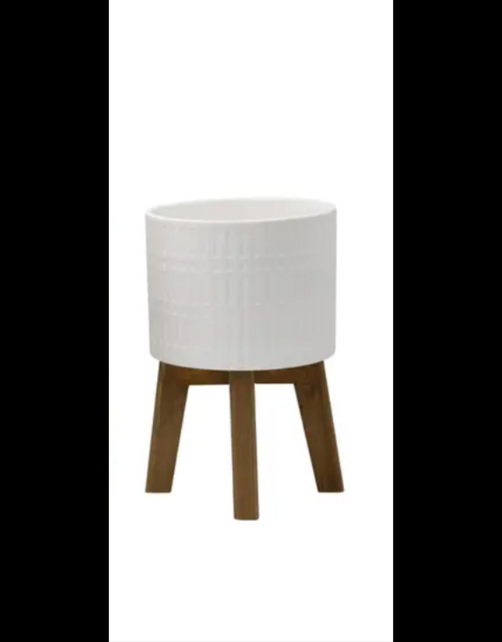 Flora Bunda Roman Ceramic Planet on Wood Stand 8''