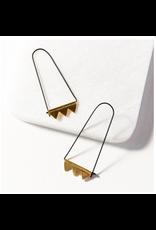 Ink + Alloy Elongated Hoop Black With Brass Earrings