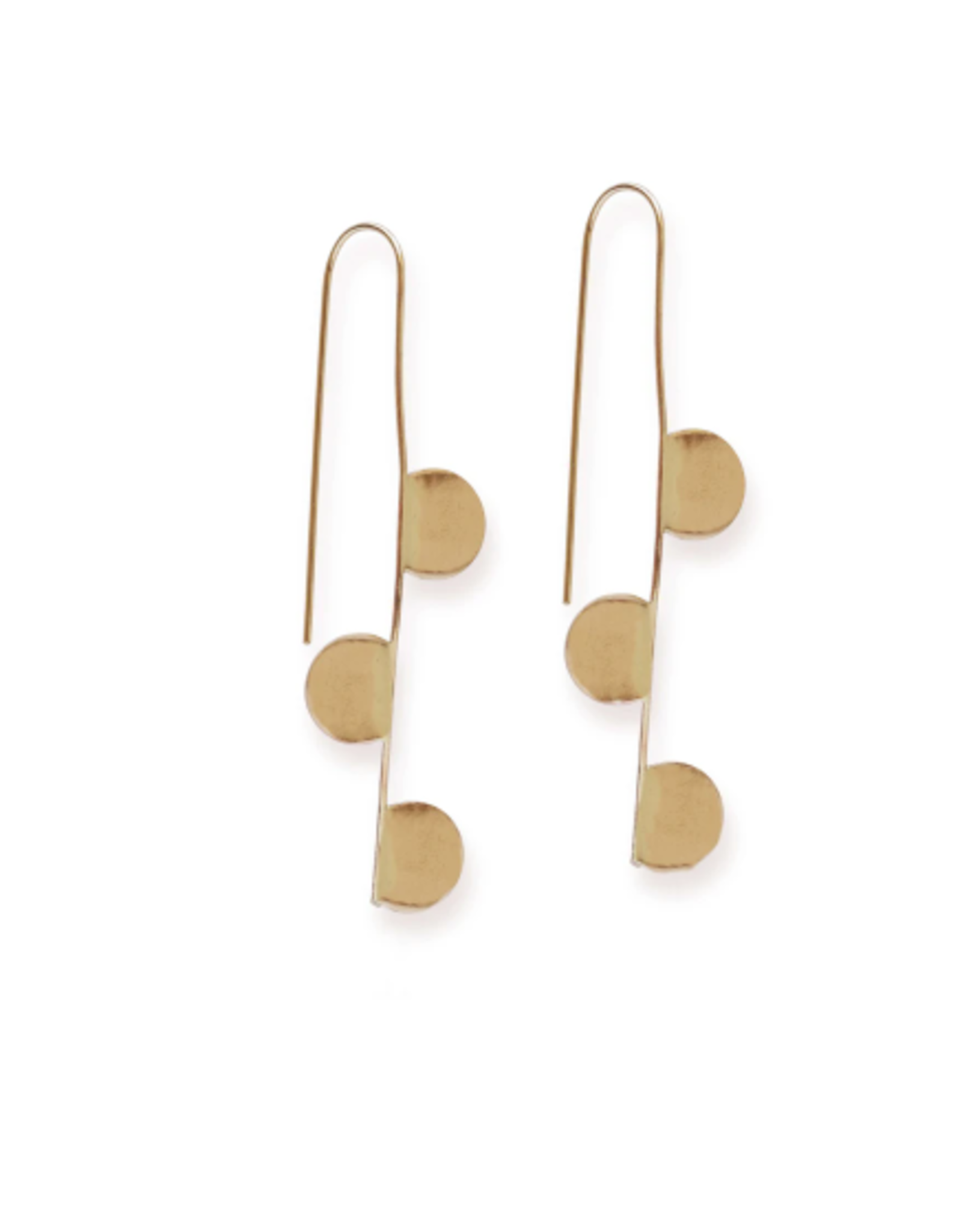 Ink + Alloy Hook With Half Circles Brass Earrings