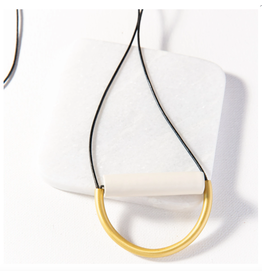 Ink + Alloy Ivory Ceramic And Brass Necklace With Leather Cord
