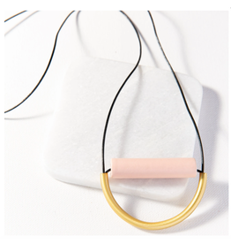 Ink + Alloy Blush Ceramic Brass Necklace With Leather Cord