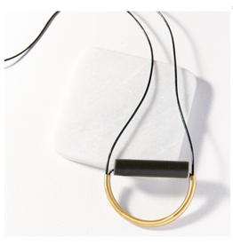 Ink + Alloy Black Ceramic And Brass Necklace With Leather Cord