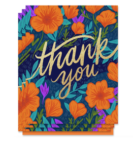 Paper Parasol Press Thank You Poppies ( box Set of 6)