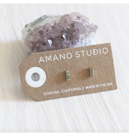 Triple Crystal Stud Earrings - Smokey Sapphire