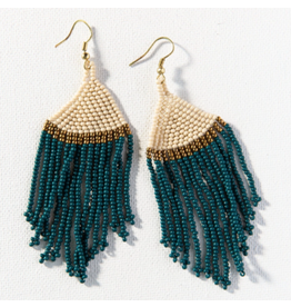 Ink + Alloy Peacock Ivory Gold Stripe Seed Bead Earrings