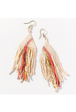 Ink + Alloy Ivory With Terra Cotta And Gold Luxe Stripe Fringe Earrings