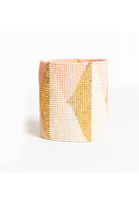 Ink + Alloy Blush Ivory + Gold Triangle Luxe Stretch Beaded Bracelet