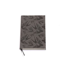 Lucca Bird In Flight Gray Faux Leather Journal