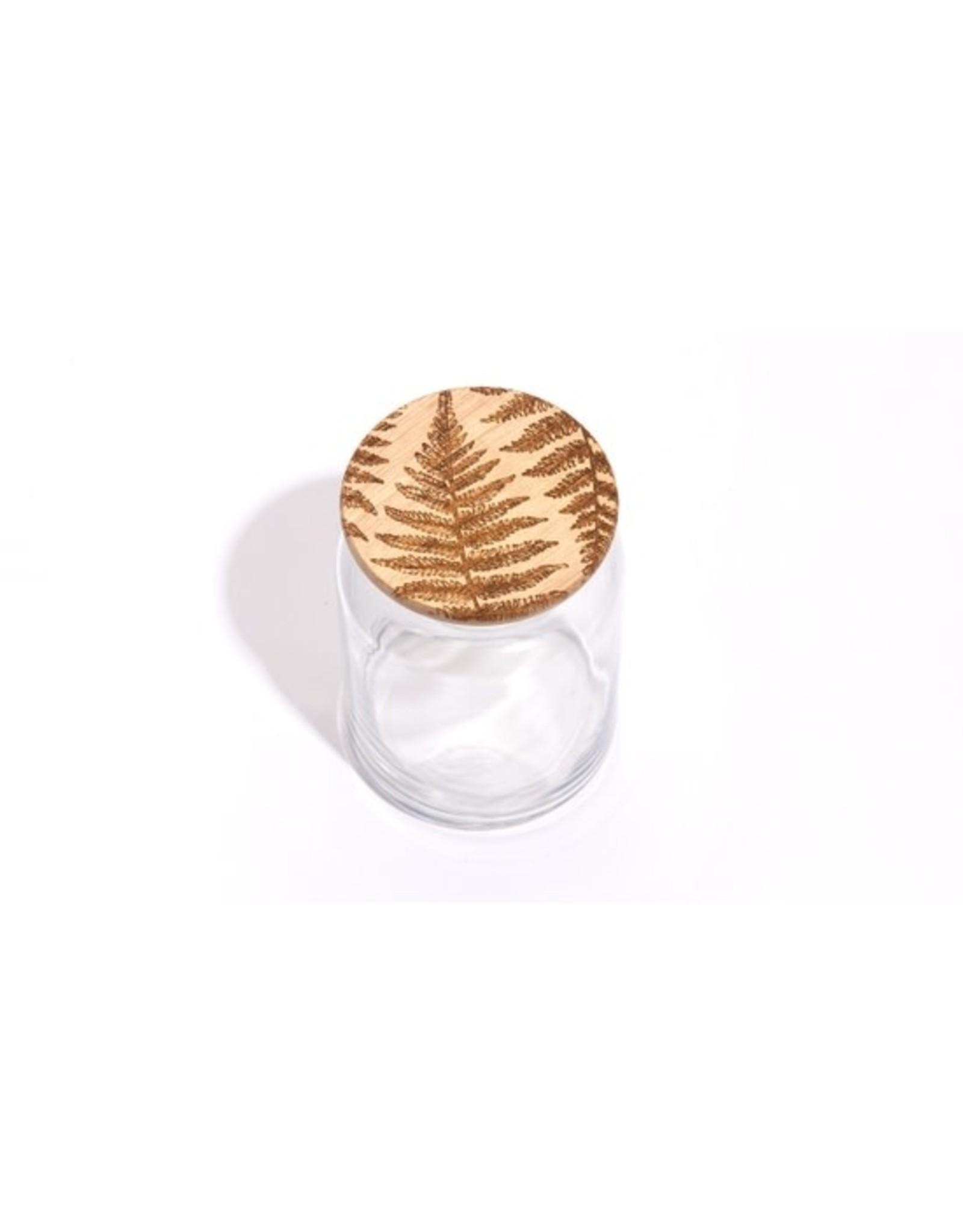 Lucca Fern Wood Lid Glass Jar