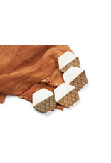 Lucca Hexagon Marble and Wood Coaster Set of 4