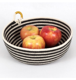 Woven Grey Happy Striped Table Basket