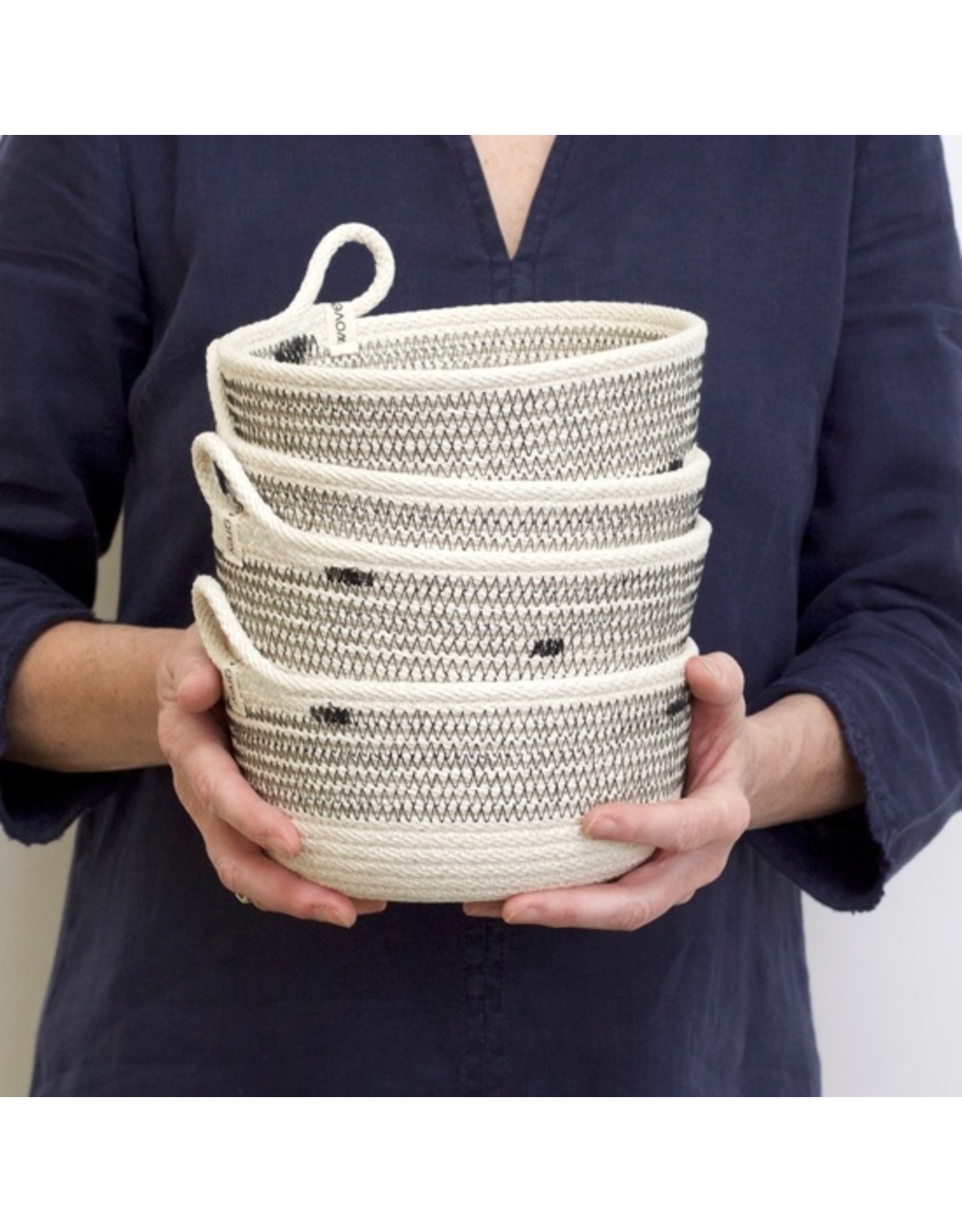 Woven Grey Striped Woven Bowl - Small