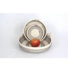 Woven Grey Color Block Basket - Large