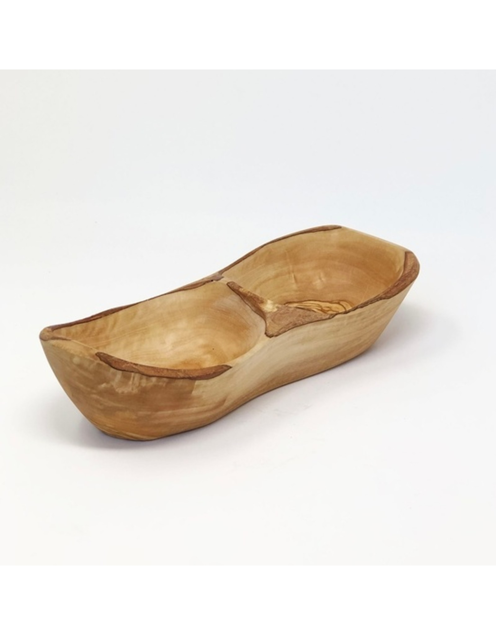 Olive Wood Rustic Appetizer Bowl - 2 sections