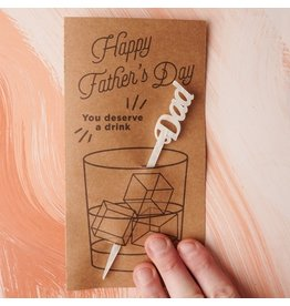 Em And Me Studio Father's Day Stir Stick Card - Marble White