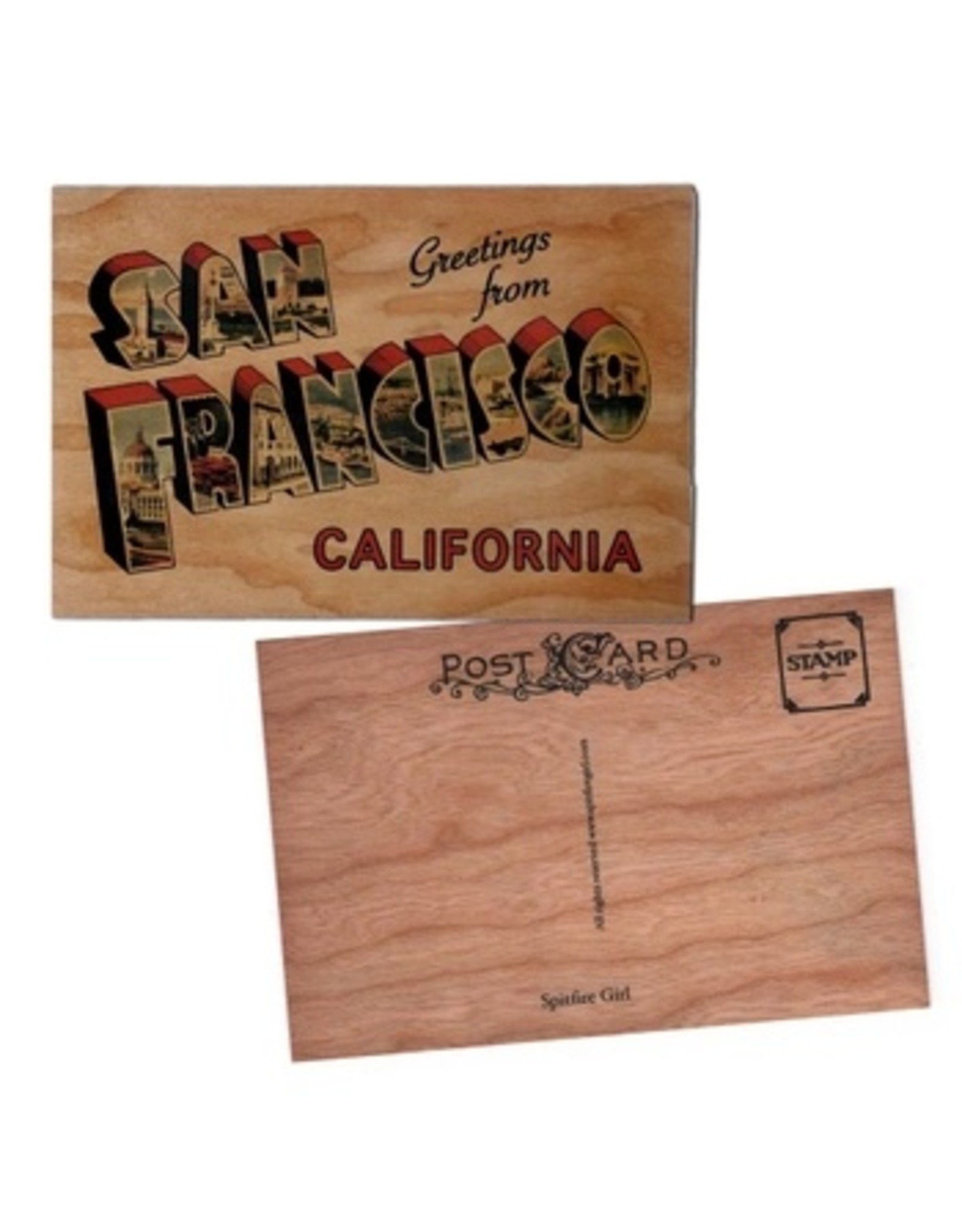 Spitfire Girl Greetings San Francisco Wood Postcard