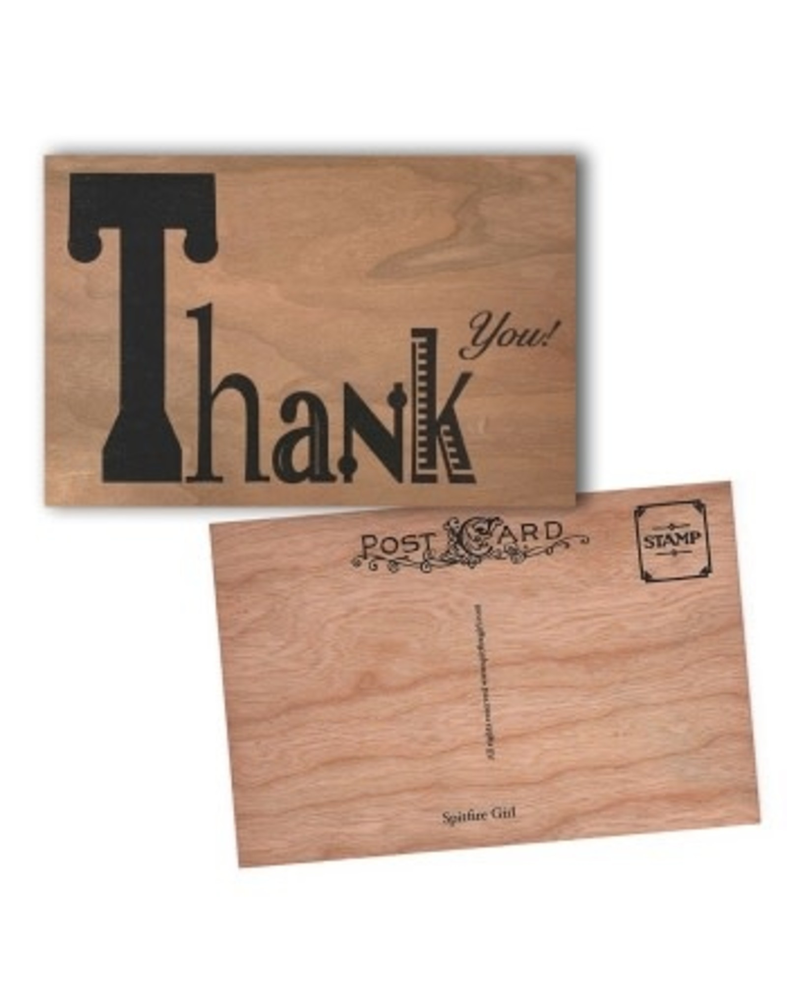 Spitfire Girl Typography Thank You Wood Postcard