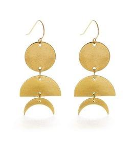 Celestial Geometry Earrings - 14k Gold Posts