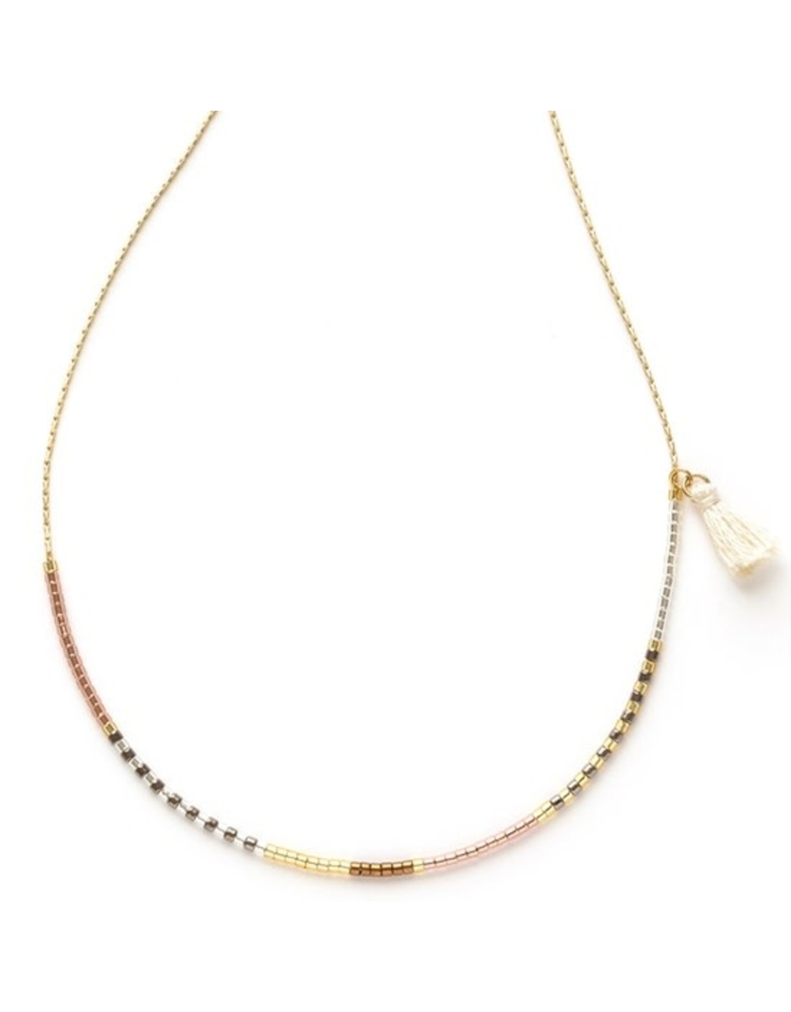 Japanese Seed Bead Necklace - Champagne