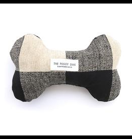 Buffalo Check Dog Bone Squeaky Toy B&W