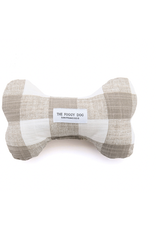 Warm Stone Gingham Dog Bone Squeaky Toy