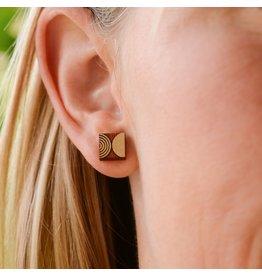 Bird of Virtue Ava Stud Earrings- Geometric Small Wood Blush