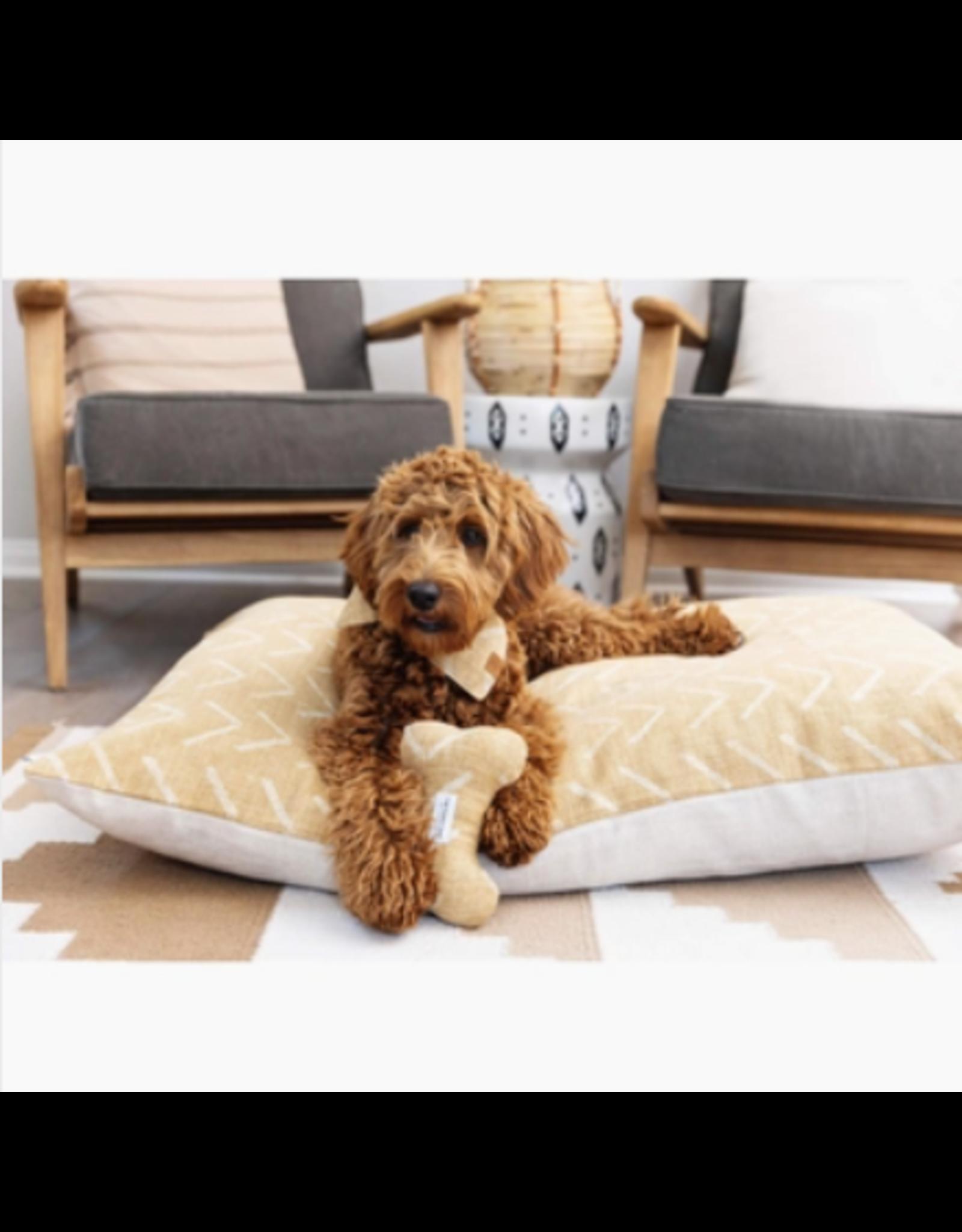 Ochre Mud Cloth Dog Bone Squeaky Toy