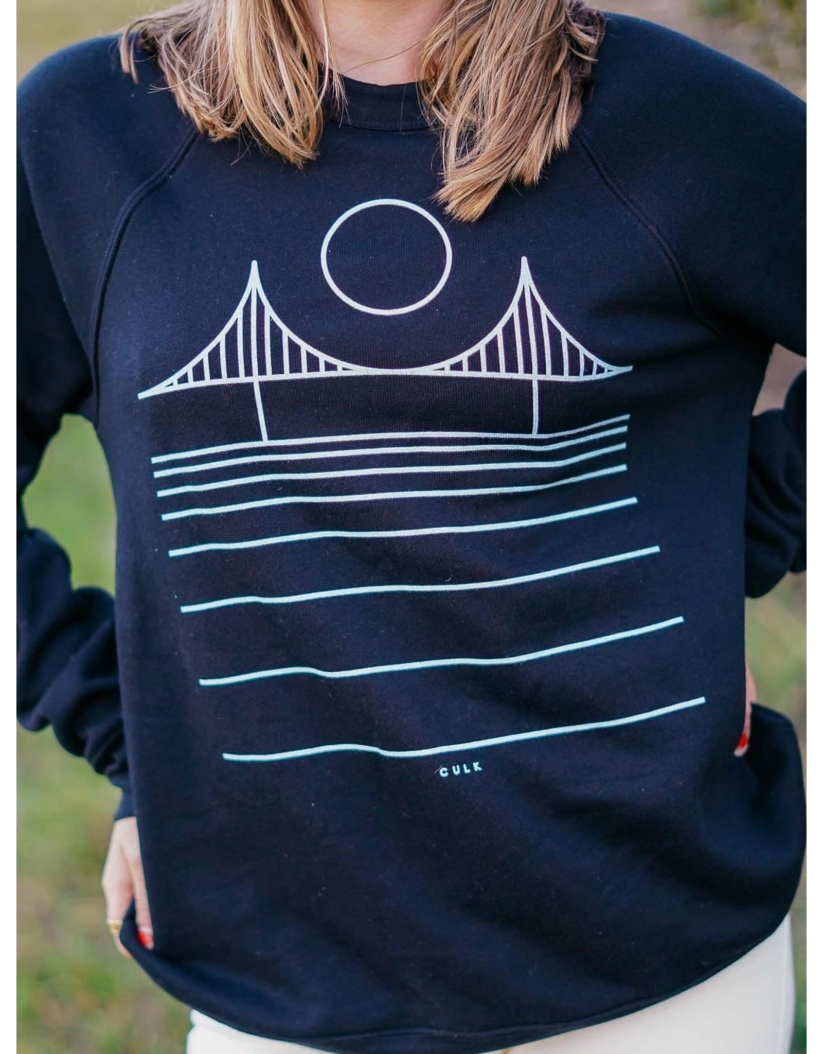 Culk Minimal Bridge Crewneck Sweatshirt - Black