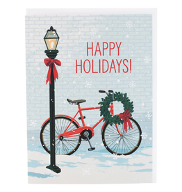Red Bike with Wreath Christmas Card