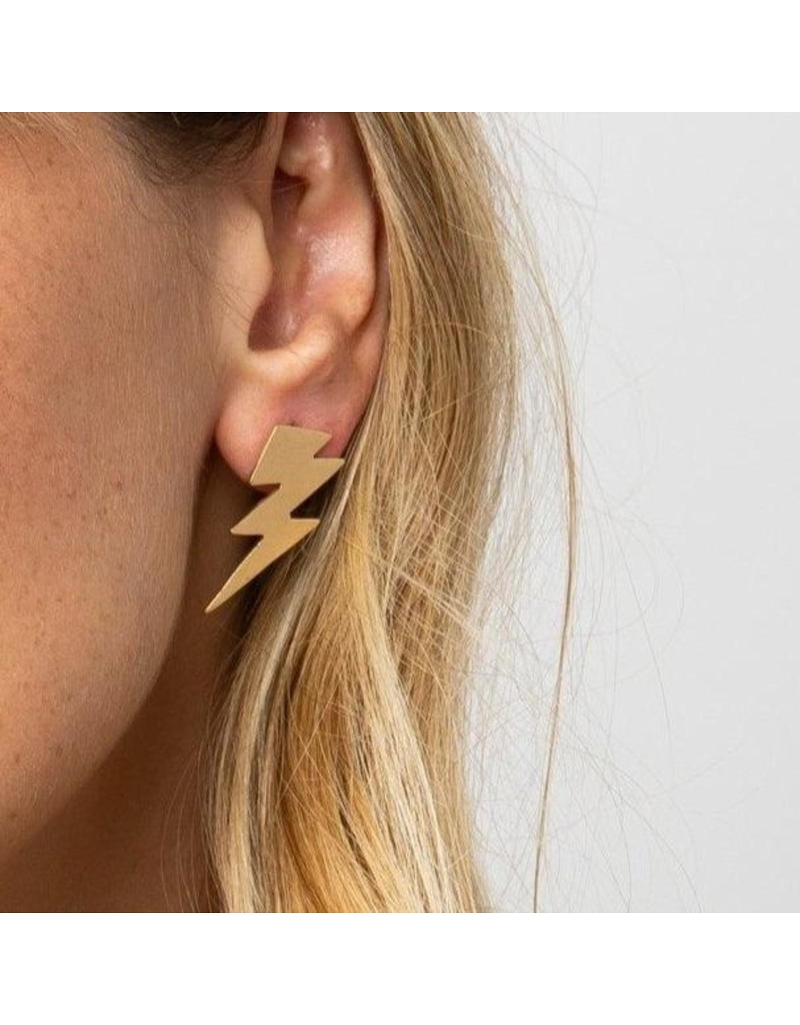 Ink + Alloy Brass Thunderbolt Earrings