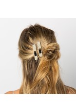 Ink + Alloy Ivory Black + Gold Beaded Hair Clip