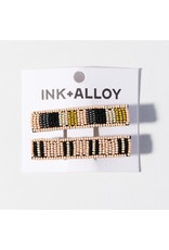 Ink + Alloy Pink Grey Citron Combo Beaded Hair Clip