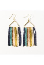 Ink + Alloy Teal Navy Stripe on Triangle Earring