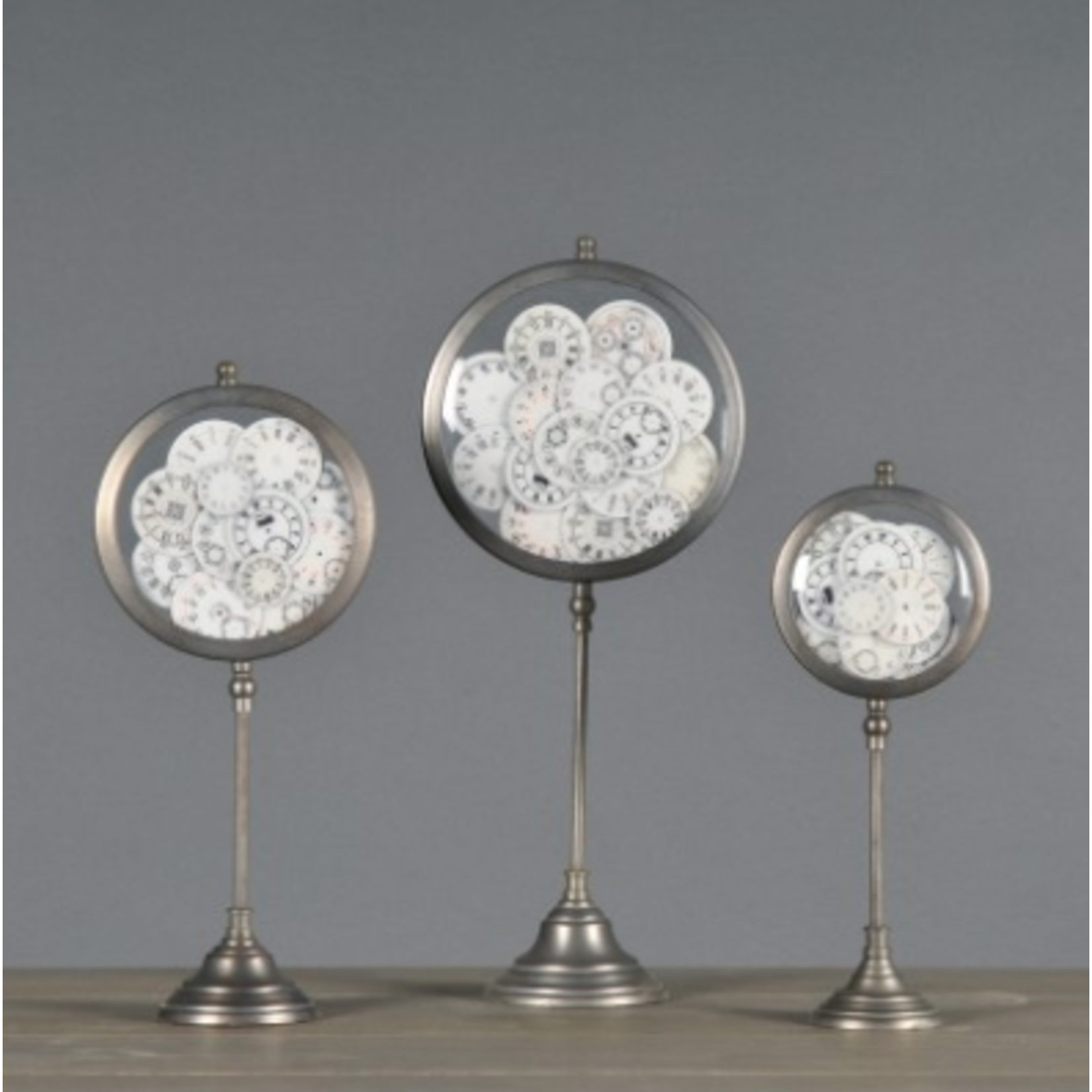 ATELIERS & CSD CLOCK FACES IN STANDS (SET OF 3)