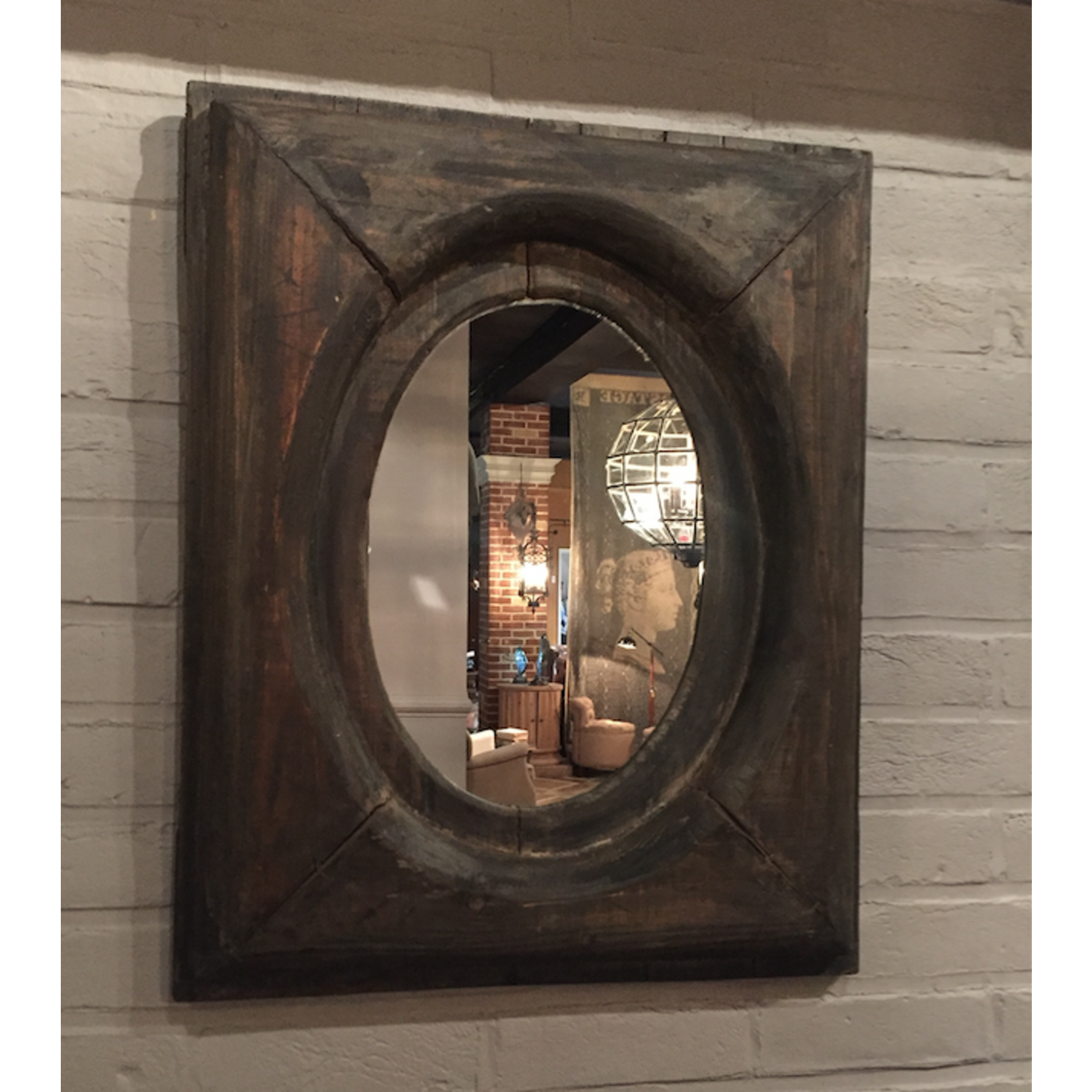 CHEHOMA MIRROR OVAL WITH RECTANGULAR WOODEN FRAME