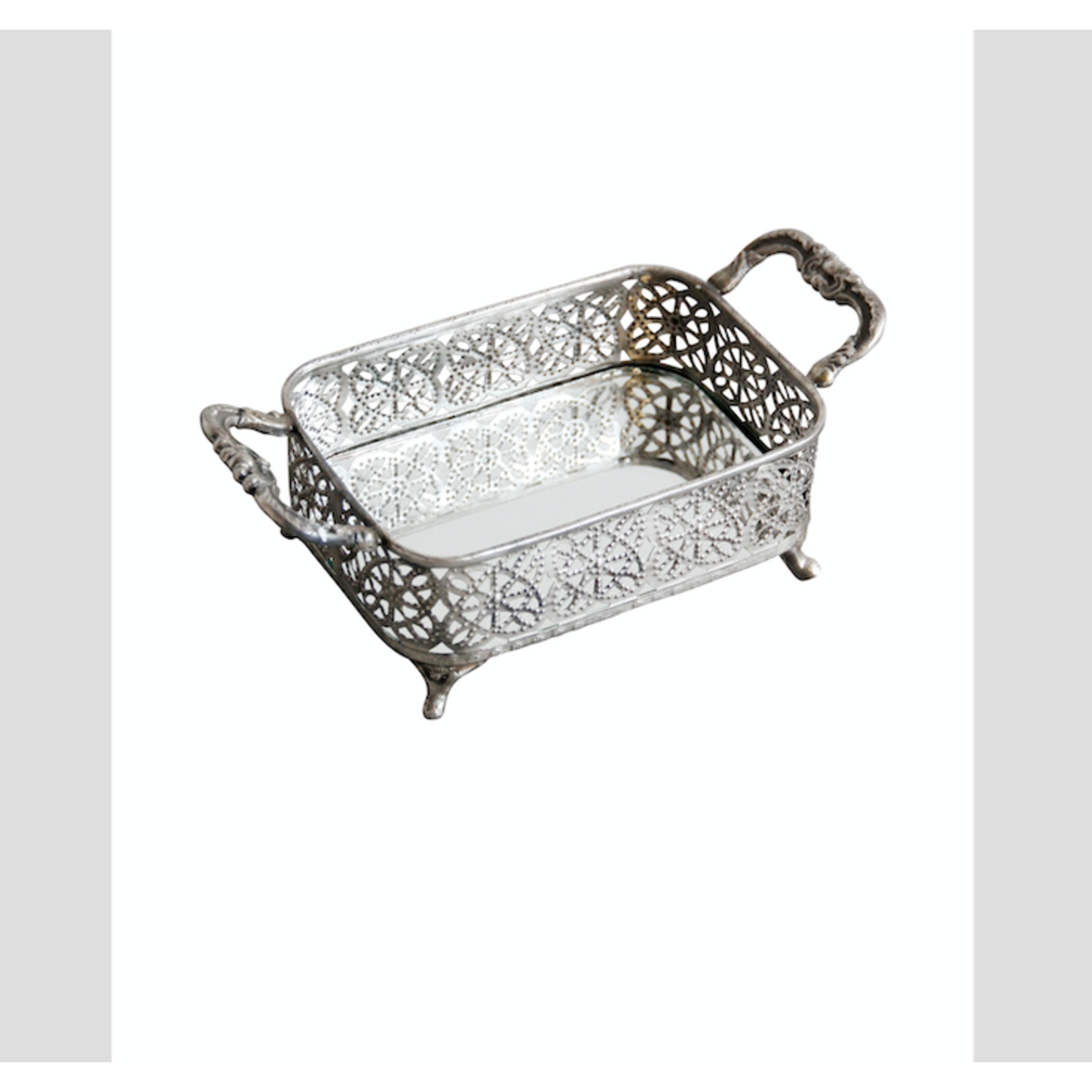 CHEHOMA SMALL METAL TRAY WITH MIRROR