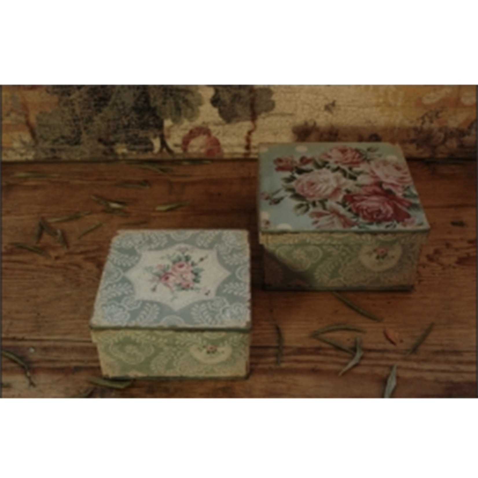 CHEHOMA S/2 Square Boxes flower design