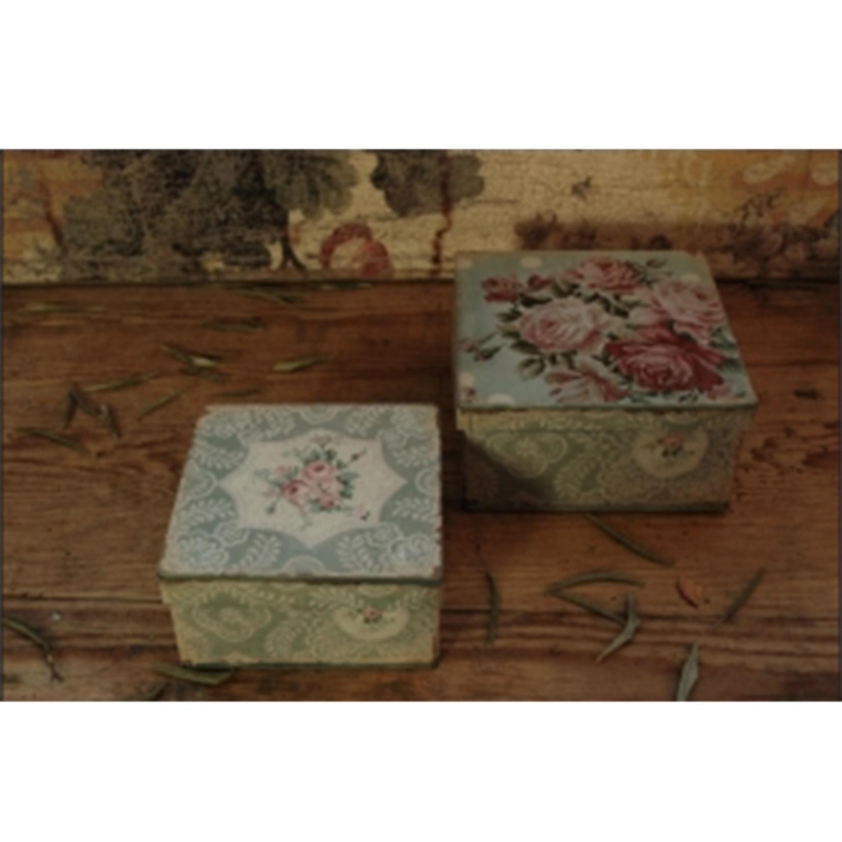 CHEHOMA SET 2 SQUARE BOXES FLOWER DESIGN