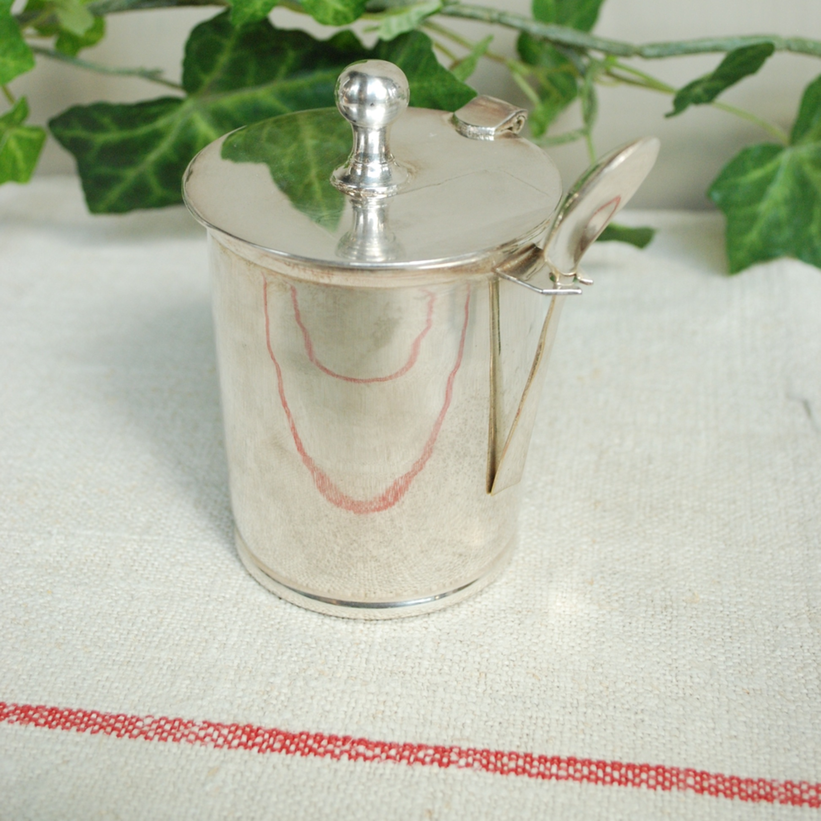 CHEHOMA SILVER JAM POT WITH SPOON