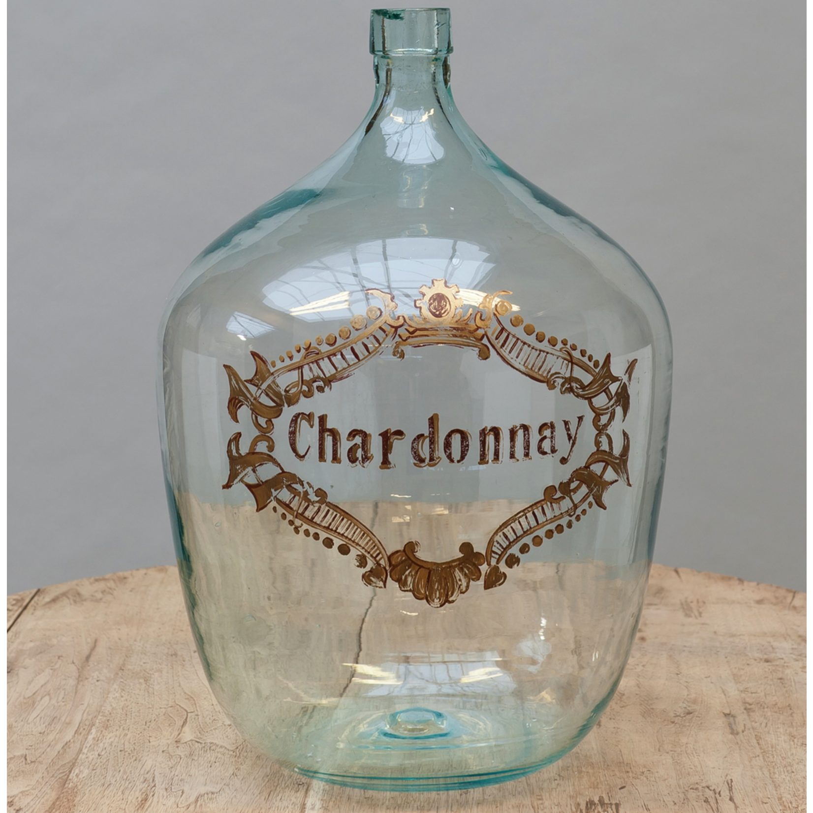 CHEHOMA HANDPAINTED BLOWED BOWED BOTTLE'CHARDONNAY'