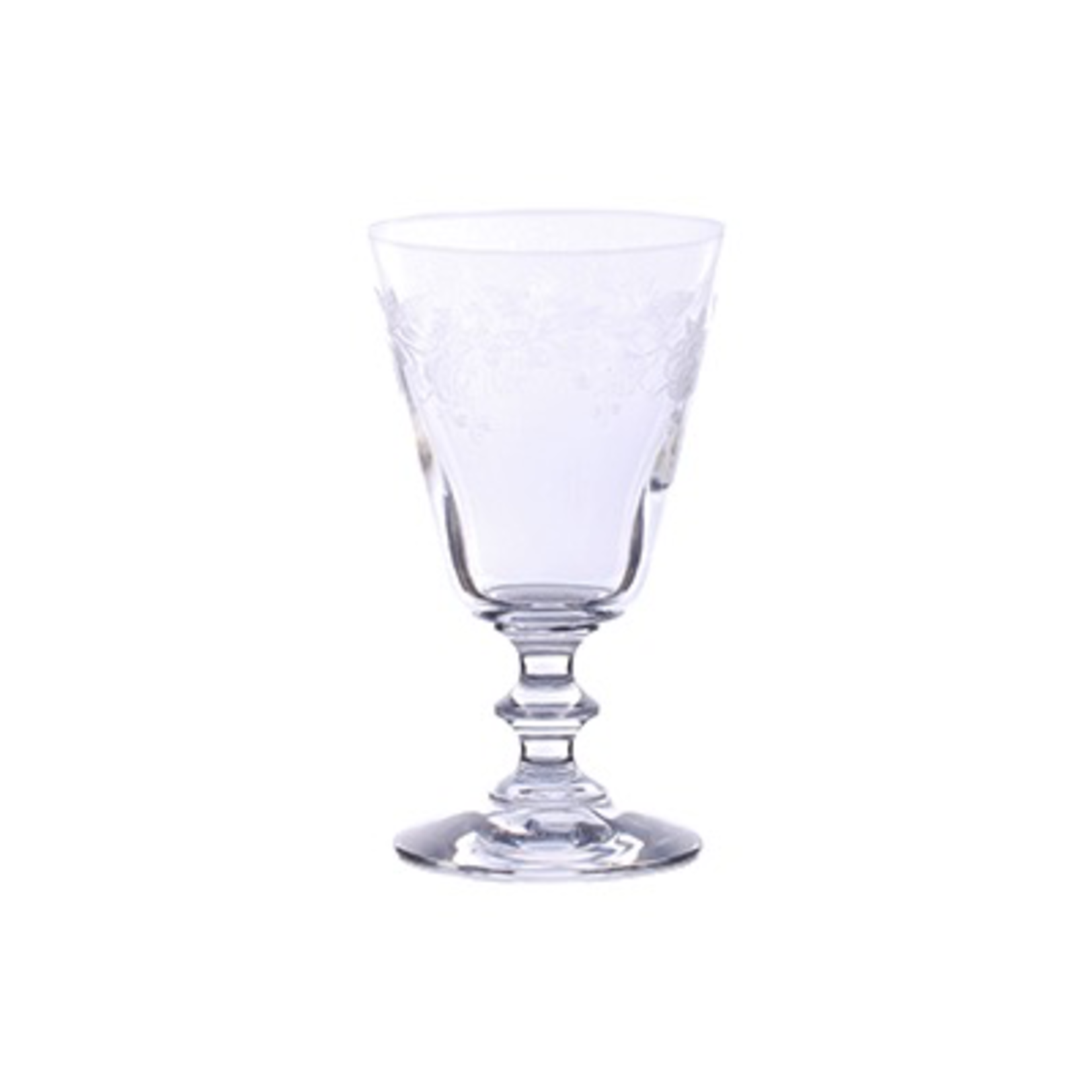 CHEHOMA WATER GLASS W/CARVED ROSES