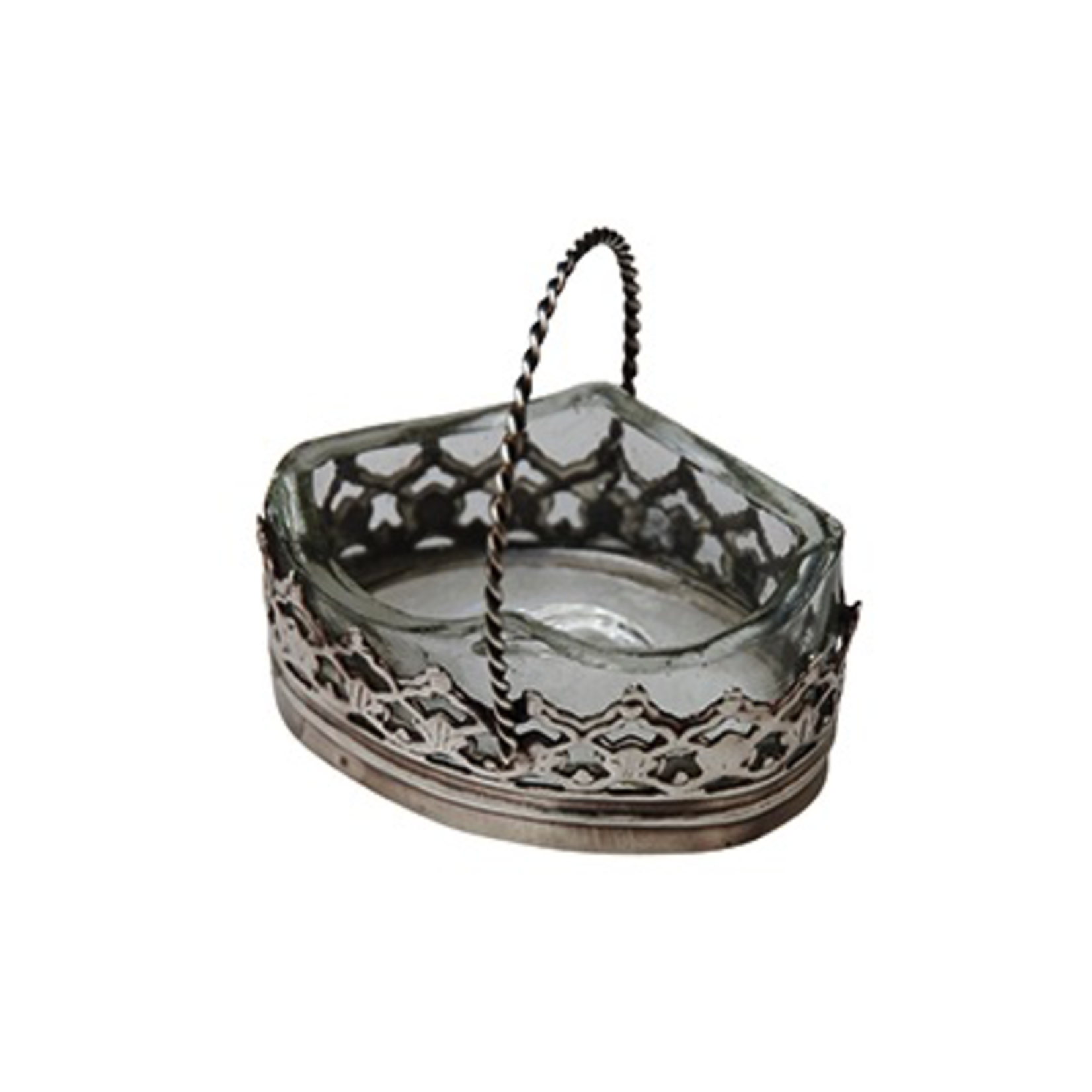 CHEHOMA SMALL SALT CELLAR IN GLASS AND METAL