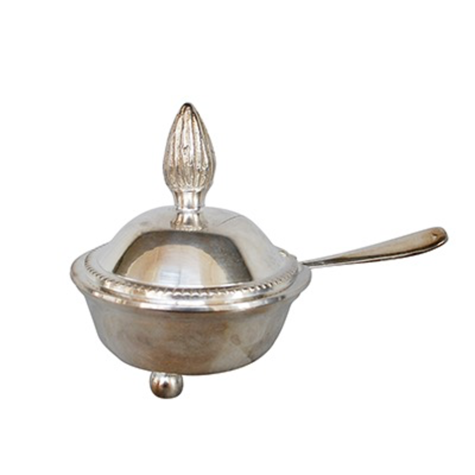 CHEHOMA JAM POT ANTIQUE SILVER WITH SPOON